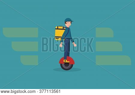 Delivering Service Vector Illustration With Modern Delivery Man On Mono-wheel Carrying Package. Food
