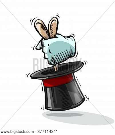 Magical Focus Trick. Hand Of Magician Gets Ears Of Hare Rabbit From Top Hat Cylinder. Hand Drawn Dra
