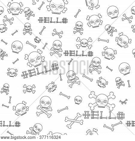 Black Vector Seamless Pattern With Skulls, Illustration Set. Hand-drawn Art For T-shirts. Isolated O