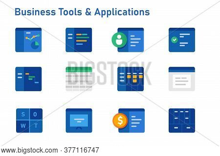 Business Tools And Software Applications Icon Set Collection From Accounting Financial To Corporate