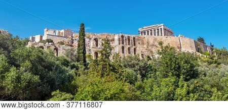 Landscape With Acropolis Hill, Athens, Greece. Famous Acropolis Is Top Tourist Attraction Of Athens.