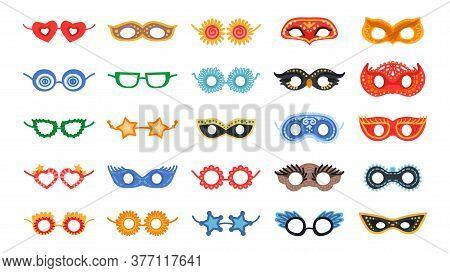 Masquerade Bright Mask Set. Vector Party Decor
