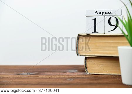 19th August - Nineteenth Day Month Calendar Concept On Wooden Blocks With Copy Space