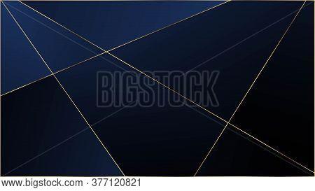 Blue Luxury Polygon Texture. Rich Silver Vip Geometric Celebration Wallpaper. Gold Lines Triangular