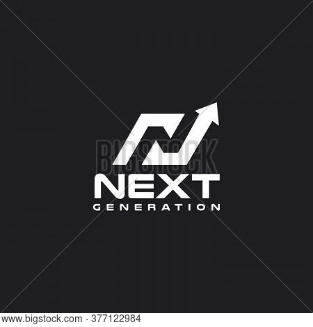 N Letter Initial Incorporated With Aup Arrow Logo Design Signs Next Step Vector Template