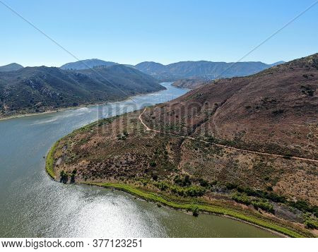 Aerial View Of Inland Lake Hodges And Bernardo Mountain, Great Hiking Trail And Water Activity In Ra