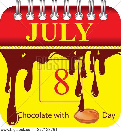 Calendar With Perforation For Changing Dates - July Chocolate With Almonds Day