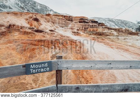 Sign For Mound Terrace, In Mammoth Hot Springs Area Of Yellowstone National Park