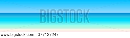 Panoramic Seascape View, Sky, Sea, Beach Landscape In Bright Natural Colorful Gradient Colors, Minim