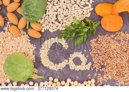 Inscription Ca With Healthy Nutritious Eating As Source Calcium, Natural Minerals, Vitamins And Diet