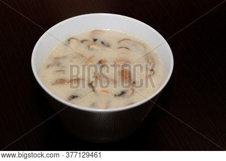 Mushroom Soup With Big Chunks Of Mushrooms. Side View