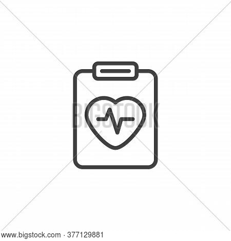 Heart Cardiogram Report Line Icon. Linear Style Sign For Mobile Concept And Web Design. Medical Reco