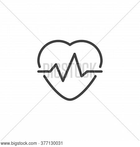 Heartbeat Pulse Line Icon. Linear Style Sign For Mobile Concept And Web Design. Heart Cardiogram Out