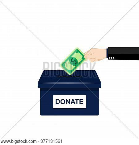 Buisness Man Hand Putting Money In Donation Box. Vector Eps 10. Illustration.