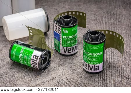 Fort Collins, CO, USA - July 18, 2020: Rolls of 35mm Fujichrome Velvia fim. This very saturated color slide film used to be popular among nature and landscape photographers.