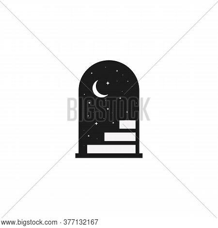 Door Is Open And Starry Night. Doorway With The Moon. Vector On Isolated White Background. Eps 10.
