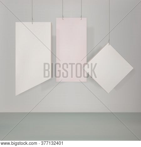 Minimalistic Background, Composition, Hanging Blocks, Plates In Pastel Colors. Simple Forms For Demo