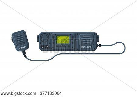 Radio Transmitter Device, Police Car Communication Device Flat Vector Illustration