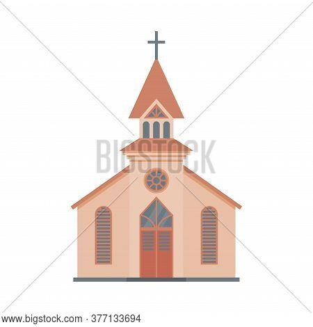Catholic Church Building, Religious Temple Facade, Ancient Architectural Construction Vector Illustr