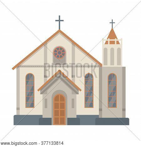Catholic Church Religious Building, Temple Facade, Ancient Architectural Construction Vector Illustr