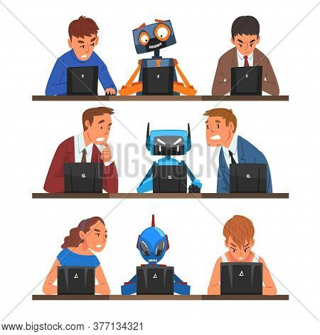 Humans Vs Robots Set, People And Androids Working Hard Together With Laptop Computers, Professional