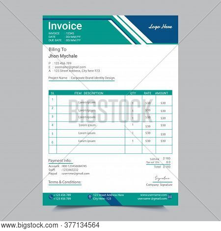 Clean Invoice Template With Blue & White Design Layout. Processional Invoice Template Design For Any