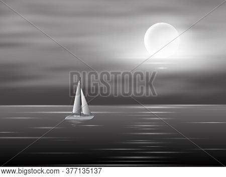 View To Full Moon At The Night Time On Sea With Yacht. Lunar Reflection On The Water. Vector Backgro