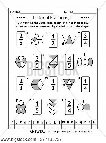 Educational Math Puzzle. Pictorial Representation Of Fractions, Reperesented By Various Shapes, Reco