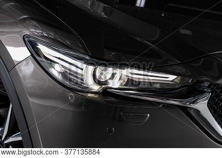 Black Car Headlights. Exterior Detail. Close Up Detail On One Of The Led Headlights Modern Car.