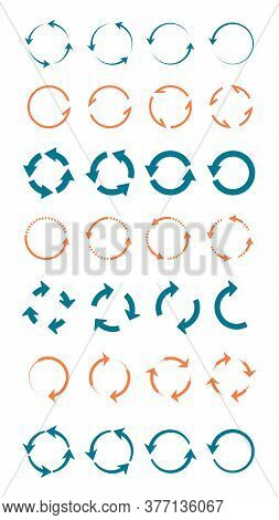 Whirlpools Arrows Circular Large Set. Blue Swirling Geometric Lines Red Indicators Directional Point