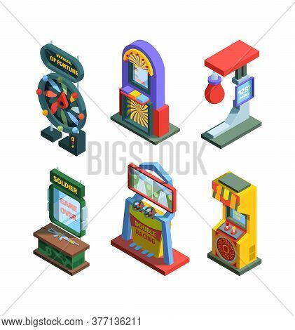 Arcade Game Machine Isometric Trainers Set. Gaming Machine Devices For Checking Strength Good Luck W