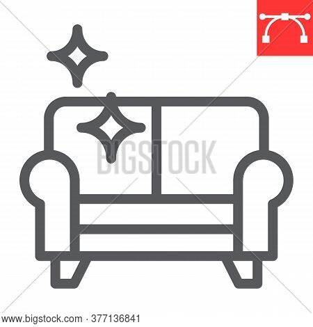 Furniture Dry Cleaning Line Icon, Dry Cleaning And Laundry, Sofa Cleaning Sign Vector Graphics, Edit