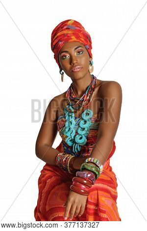 Portrait Of A Young And Attractive African American Black Woman Looking At The Camera In The Nationa
