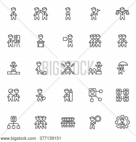 Business People Line Icons Set. Linear Style Symbols Collection, Outline Signs Pack. Vector Graphics