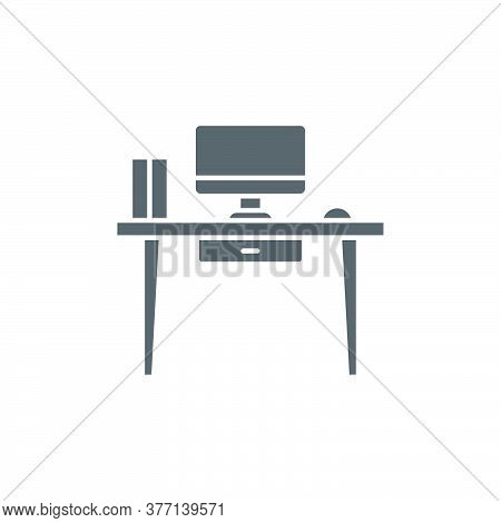 Office Workspace Desk Vector Icon Symbol Workspace Isolated On White Background