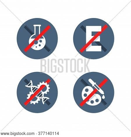 No Preservatives, No Gmo, No Additives, E Number And Dye Free Sign Set - Organic Food Stickers - Vec