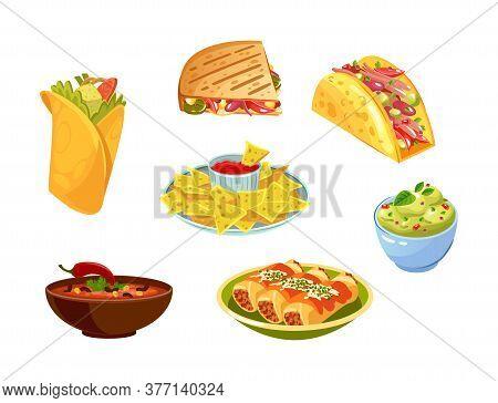Mexican Traditional Food Set With Guacamole, Quesadilla, Enchilada, Burrito, Taco, Nachos, Chili Con