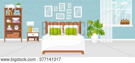 Bedroom Interior. Vector Illustration. Design Of A Modern Room With Double Bed, Bedside Table, Shelf