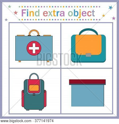 Map Game For Children's Development, Find The Extra Object, Where All The Objects Are Bags And One I