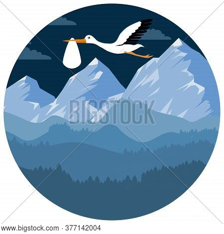 A Stork Carries A Baby In Its Beak Against The Backdrop Of A Mountain Landscape. Stork With A Baby I