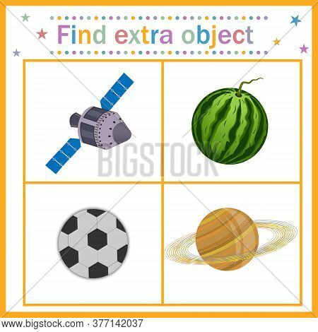 Map Game For Children's Development, Find The Extra Object, Where All The Objects Are Round, Except