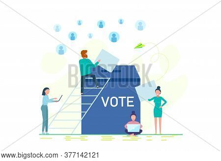 Voting and choosing.2020 vote presidential election vector template. Presidential Election 2020 in United States People voting at ballot box. Conceptual Modern and Trendy colorful vector illustration for landing page.