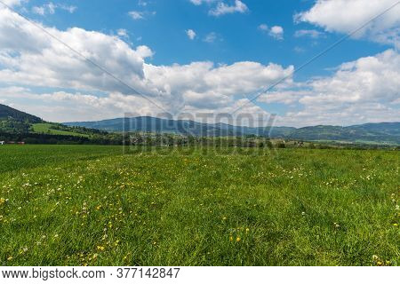 Beautiful Surrounding Of Jablunkov Town In Czech Republic With Rual Landscape And Hills During Sprin