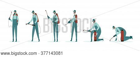 An Illustration Of A Pest Control Worker In Various Poses Wearing Protective Coveralls And Holding A