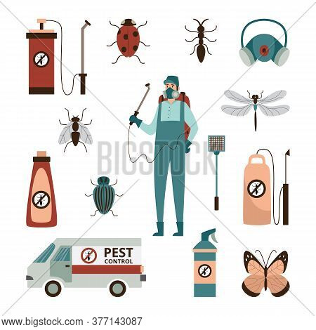 Set Of Pest Control Service Signs Or Icons Flat Vector Illustration Isolated.