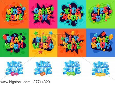 Kids Zone Banners Set For Children Playground Area, Cartoon Vector Illustration.