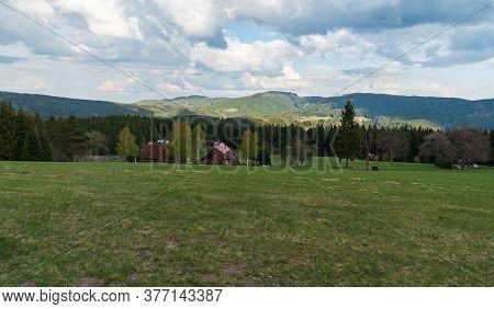 Beautiful Moravskoslezske Beskydy Mountains Near Visalaje In Czech Republic With Mountain Meadow, Fe