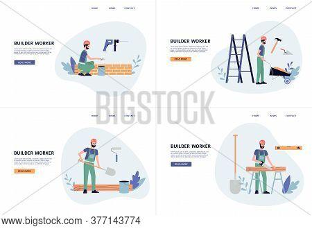 Cartoon Builder Or Construction Worker Banner Set, Contractor Man