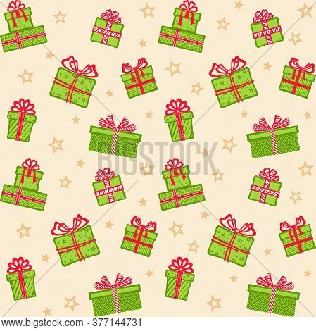 Green Gift Boxes With Different Patterns And Red Ribbons And Bows On A Beige Background With Stars.