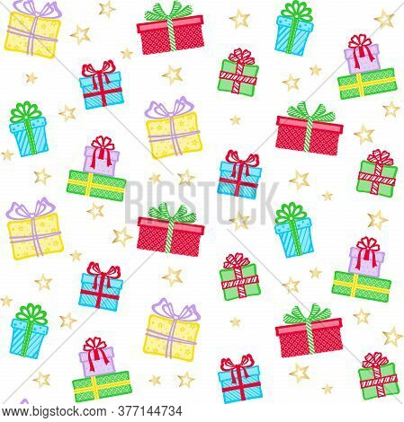 Colorful Gift Boxes With Different Patterns, Ribbons And Bows On A White Background With Golden Star